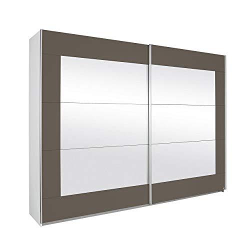 Rauch Schwebetürenschrank mit Spiegelfront, Absetzungen in Lavagrau 2-türig, BxHxT 226x210x62 cm