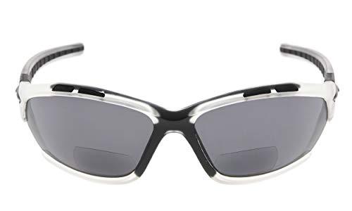 Eyekepper TR90 Sport Bifocal Sonnenbrille Baseball Laufen Angeln Fahren Golf Softball Wandern Leser Klare Rahmen Graue Linse +1,25