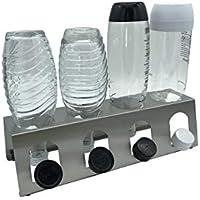 Abtropfhalter 4.1 aus Edelstahl für z.B. Sodastream Crystal/Source/Fuse/Easy/Cool / 0,6l Emil Flaschen Flaschenhalter Abtropfgestell