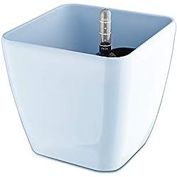 Sungmor Selbstbewässernde Dickspule mit rundem Pflanzgefäß mit Wasserzähler und Vorratsbehälter, Garten-Blumentopf für Fenster- und Topfpflanzen, Kunststoff, Hellblau (Quadrate), Klein