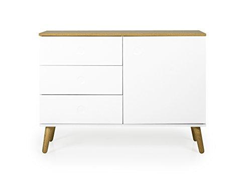 tenzo 2974-450 ACE Designer Buffet 1 Porte, 3 tiroirs, Blanc/Chêne, Structure en Panneaux de Particules et MDF laqués, Naturel, 79 x 109 x 43 cm (HxLxP)