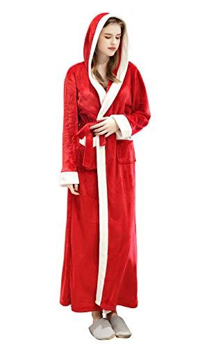 FEOYA - Unisexe Peignoir de Bain Long en Flanelle pour Hiver Peignoir Femme Homme à Capuche Robe de Chambre Polaire Hiver Chaud avec Ceinture Rouge Taille M
