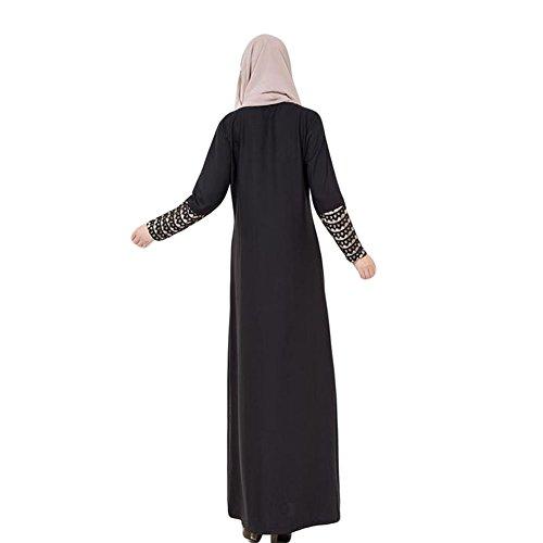 Meijunter Femme Musulman Arab Robe Middle East Kaftan Abaya Lace Stitching Dress Black