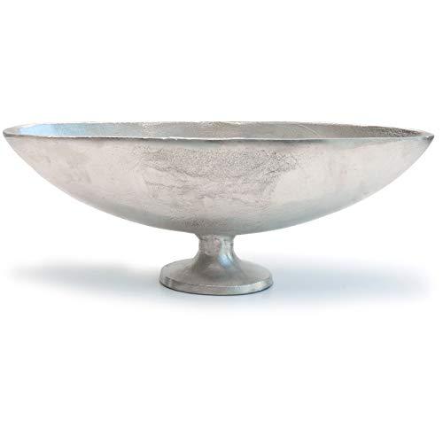 Exner Schale aus Aluminium - auf Fuß oval - Silber - Elegante Dekoschale - modernes Design - Jardiniere Alu raw Ovale Schale