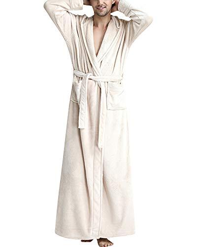 Albornoz Bata De Baño,Sauna Coral de Forro Polar Espesar Pijama con Capucha para Unisex Mujeres Y Hombres Beige Hombre L