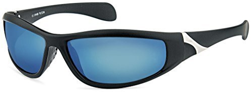 Sportbrille Fahrradbrille Laufbrille Laufen Angeln Golf Sport Brille Skibrille Ski fahren Sonnenbrille für Herren und Damen Outdoor (Schwarz-Blau) (Ice Blue Ice Angel)