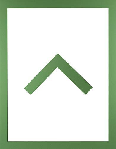 RahmenMax Morena Holz Werkstoff Bilderrahmen 42 x 57 cm modernes sehr eckiges Profil 57 x 42 cm Grosse Farbauswahl jetzt: Grün mit Kunstglas klar 1 mm