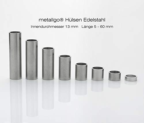 metallgo M12 Edelstahl Hülsen, Abstandshülsen, Distanzhülsen, Abstandsbuchsen, Distanzbuchsen, Abstandshalter, Distanzhalter - 5 Stück Länge 40 mm -