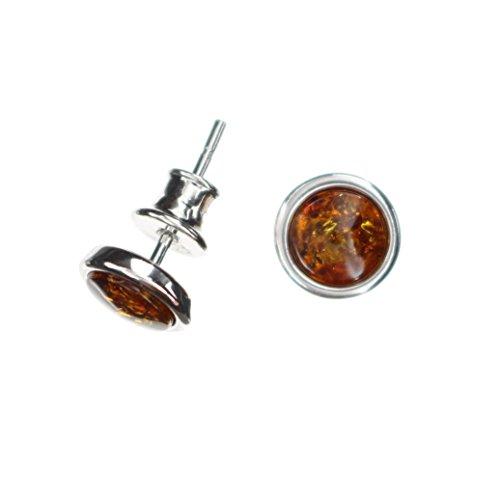 Kleine runde Ohrstecker mit Natur Bernstein aus 925/000 Sterling Silber rhodiniert von Artisana-Schmuck