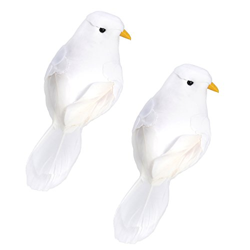 winomo 2PCS Künstliche Vögel Handwerk Vögel Falsch Vögel Feder Schaumstoff Tauben mit Clips für Foto Props Dekoration des Hauses -