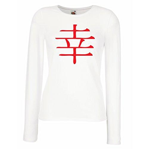 lepni.me Manches Longues Femme T-Shirt Logogramme du Bonheur - Symbole Kanji Chinois/Japonais Blanc Rouge