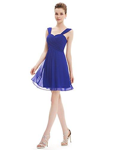 Ever Pretty Robe de Demoiselle d'honneur en Coeur V-col au genou 03539 Bleu Saphir
