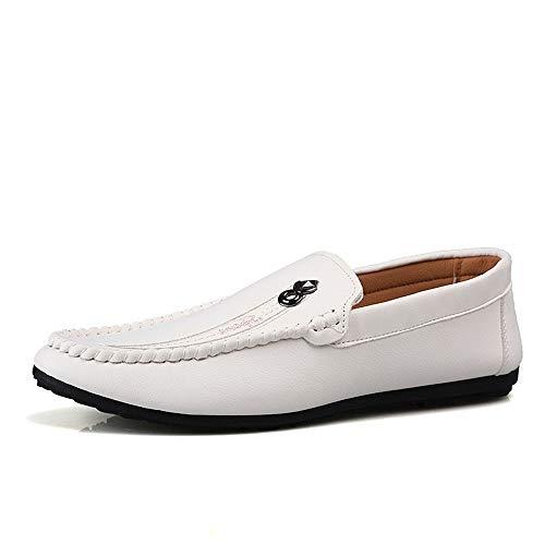 S-Fang, Penny Slipper Herren Schuhe flach massiv für Herren aus Mikrofaser Leder Business Hochzeit Dating Fashion Casual Schuhe Anti-Rutsch Slip-On Leicht Atmungsaktiv, Weiß - weiß - Größe: 41.5 EU -