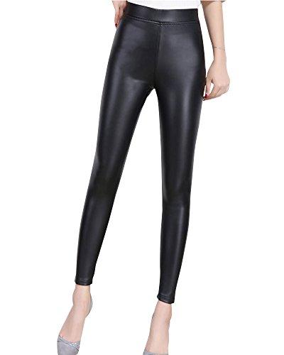 Mujeres Pu Leggins Cintura Alta Pantalones Skinny Elásticos Pantalones Leggins Negro 3XL