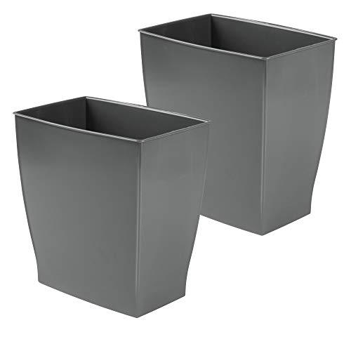 mDesign 2er-Set Mülleimer – ideal als Papierkorb oder Abfalleimer aus robustem Kunststoff – modernes, rechteckiges Design für das Badezimmer – schiefergrau