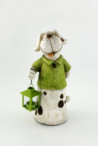 KLP Hund Hundefigur mit Metall Laterne Teelichthalter Deko Tier Figur Skulptur Gartenfigur -
