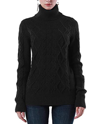 PrettyGuide Women's Turtleneck Sweater Long Sleeve Cable Knit Sweater Pullover Tops M Black -