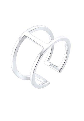 Elli Ring Damen im Geo Minimal Trend Größenverstellbar in 925 Sterling Silber