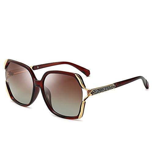 Bunte Polarisierte Sonnenbrille Frauen Großen Rahmen Sonnenbrille UV-Schutz, Geeignet Für Dekoration, Reisen, Sonnenschutz, Fahren.Geeignet Für Eine Vielzahl Von Gesichtstypen. ( Color : Brown )