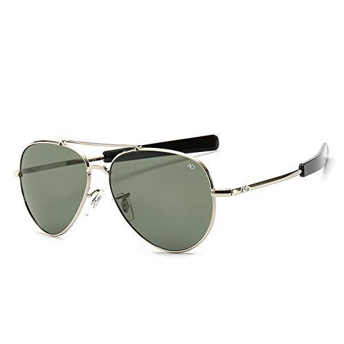 HUWAIYUNDONG Sonnenbrillen,Vintage Aviation Sunglasses Men American Army Military Optical Ao Sun Glasses Women Sliver-Gray
