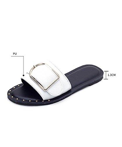 CHAOXIANG Pantofole Da Donna Antiscivolo Ciabatte Piatte Sandali Da Surf Nuova Estate Ciabatte Spiaggia ( Colore : Nero , dimensioni : EU43/UK8.5/CN44 ) Bianca