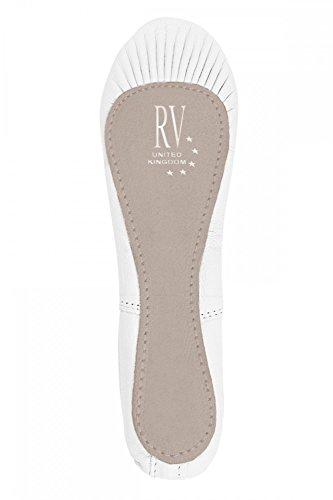 Roch Valley Ophelia Ballettschläppchen aus Leder mit Gummibänder Weiß