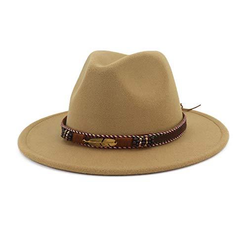 e für Herren und Damen, aus Filz, breite Krempe, Panama-Hut mit Band - Braun - M (Kopfumfang 56/58 cm) ()