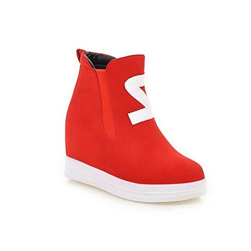 AgooLar Damen Gemischte Farbe Wedges Rund Zehe Blend-Materialien Ziehen Auf Stiefel Rot