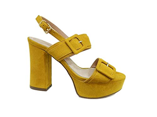 Sandalia amarilla de plataforma con pulsera para mujer