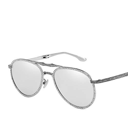 Taiyangcheng Polarisierte Sonnenbrille Strass Pilot Faltbare Sonnenbrille Mode Frauen Brille Carving Beine Shades Retro Sonnenbrille Männer Oculos,Silber-