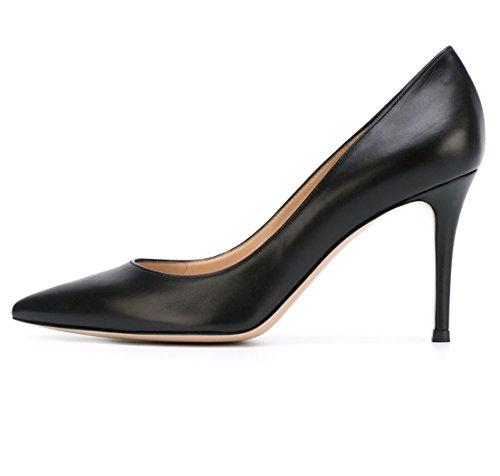 Soireelady Damen Fashion Pumps,Hohe Absätze mit Geschlossener Spitze,Comfort Pumps Schwarz Größe 44