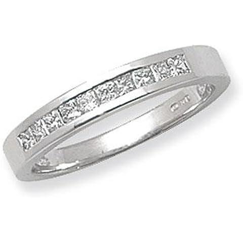 9pietra Canale Anello in oro bianco 18kt con diamante taglio Princess G/H SI20,33ct