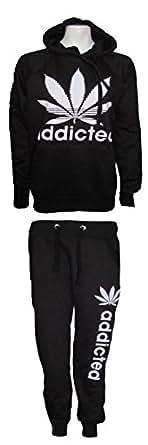 Nouveau Womens Mesdames Addicted sweat-shirt à capuche imprimé bas pantalon survêtement défini Taille(36-42) Addicted Printed Hoodie Trouser Bottom Tracksuit Set UK 8-14 (UK (12-14) EU (40-42), BLACK/NOIR)