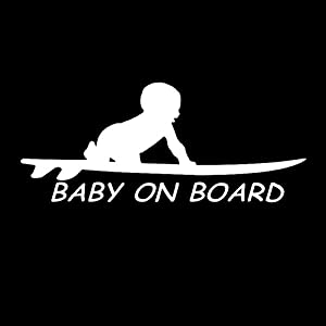 EROSPA® Auto-Aufkleber KFZ - Baby On Board - Kind mit Surfbrett - Car-Sticker...