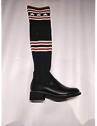 Botas De Mujer, De Tacón Bajo, Cabeza Redonda Alta Tubo Elastico Botas Mujer, Botas hasta La Rodilla, Zapatos De Fondo Plano,Cuarenta,Black