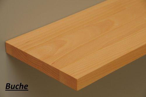 Wandbord Wandboard Design Livingboard Regal massiv Holz - verschiedene Holzarten wählbar - Tiefe:13cm Dicke:25mm (Buche, 50cm)