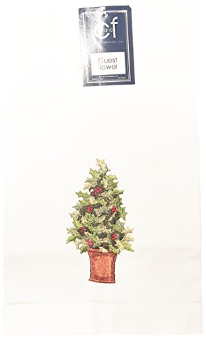 14X22 hemstitch Guest Towel/H, HOLLY TOPIARY by C&F - Holly Topiary