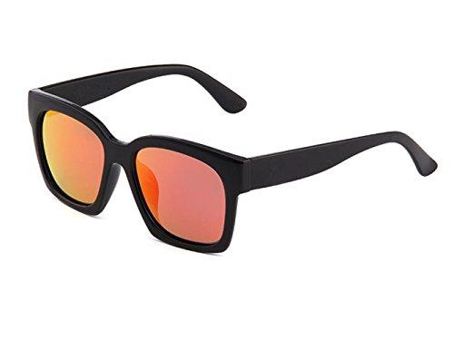 SHULING Sonnenbrille Offset Optische Sonnenbrille Retro Autofahrer Spiegel, Schwarz/Rot
