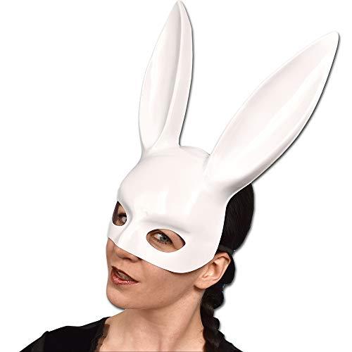 Sexy Bunny Halbmaske mit langen Ohren für Fasching (weiß Lack)