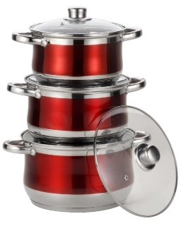 Royal Cuisine 3 Piece Set Coloured Stainless Steel Stock Pot Set. (Red) 18cm Diameter, 2.5 Litre Volume. 20cm Diameter, 3.5 Litre Volume. 22cm Diameter, 4.5 Litre volume