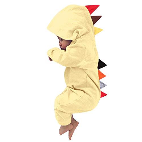 MRULIC Neugeborenes Baby Jumpsuit Outfit Dinosaurier Reißverschluss mit Kapuze Spielanzug Overall Outfit Kleidung Niedlicher Babyschlafsack Onesies Herbst und Wintermodelle(Gelb,75-80CM)