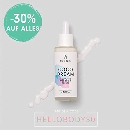 HelloBody Coco Dream Recovering Face Night Serum (30 ml) - Veganes, erholendes Serum - Hyaluron...