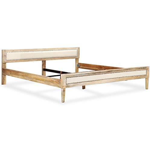 vidaXL Bettgestell Massives Mangoholz 180x200cm Bettrahmen Doppelbett Bett