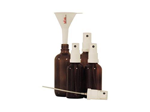 Viva Haushaltswaren - 4 x Apotheker-Sprühflasche im Set (2x50 ml & 2x100 ml) aus Braunglas, kleine Glasflaschen mit Zerstäubereffekt - Made in Germany & BPA frei (inkl. einem Trichter Ø 5 cm) Test