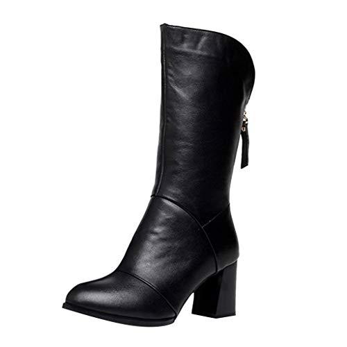 ZYUEER Stiefeletten Damen Mit Absatz, Frauen Reißverschluss Lang Stiefel Schwarz Blockabsatz Mode High Heels Teens Mädchen Outdoor Schuhe
