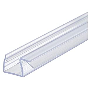 Gedotec Glastür-dichtung Eckdichtung para Mamparas de Ducha | Dusch-Türdichtung Longitud 2000mm | Labio Sellador PVC Transparente | Grueso Cristal 8-10mm | 1 Pieza – Labial Puertas
