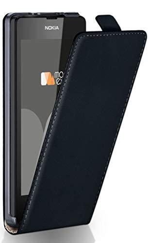 MoEx® Flip Case mit Magnetverschluss [Rundum-Schutz] passend für Nokia Lumia 530 | 360° Handycover aus feinem Premium Kunst-Leder, Schwarz