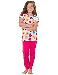 Pink and White Teenage Girl's Long Pyjamas EMOJI Style Long Pjs 9 to 13 Years