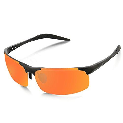 Mode Lunettes de soleil polarisées pour le plein air Hommes Sports / MG Alliage Homme Aviator Driving Fishing Polarized Lunettes de soleil Lunettes UV400 (orange / noir)