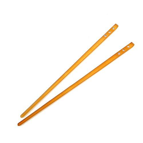 rougecaramel - Accessoires cheveux - Pic à cheveux plastique et strass lot de 2pcs - orange